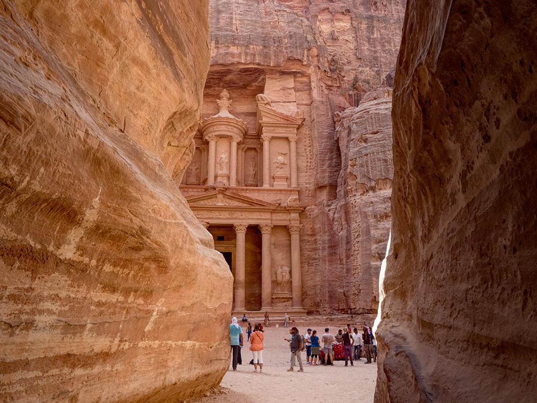 The Treasury at Petra, Jordan, seen from the slot canyon known as the Siq