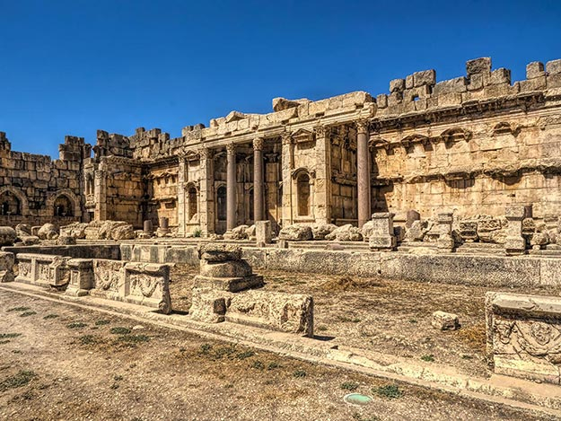 Great Court of the Jupiter Temple at Baalback Roman ruins in Lebanon's Beqaa Valley