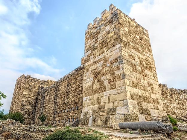 Crusader Castle overlooks 6,000 year old Phoenician ruins at Byblos, Lebanon