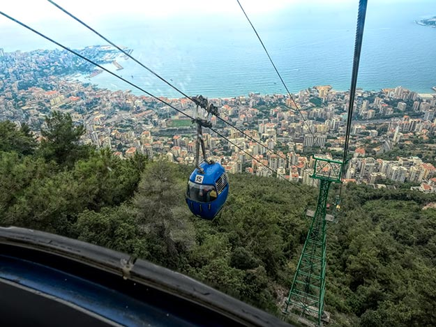 Riding the Teleferique (cable car) down from the Shrine of Our Lady of Lebanon in Harissa, Lebanon