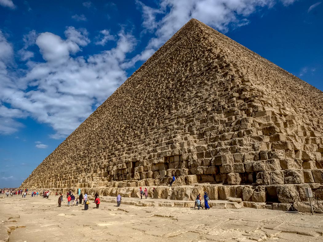 Great Pyramid of Giza, also known as Pyramid of Khufu, just south of Cairo, Egypt