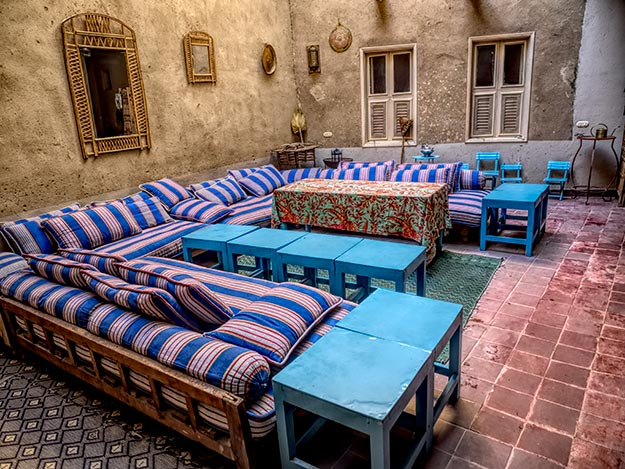 Common area at Beit Sabee Guest House in Luxor, Egypt
