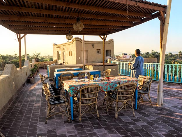 Breakfast on the rooftop patio at Beit Sabee Guest House on the West Bank of Luxor, Egypt