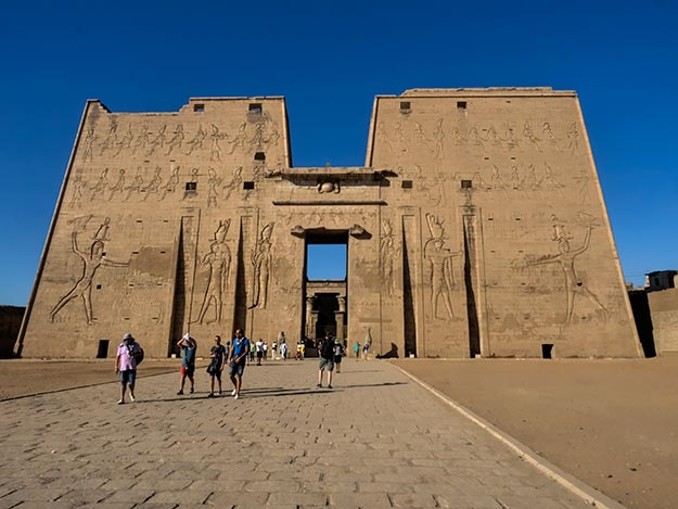 Temple of Horus in Edfu, Egypt, is a highlight of Dahabiya cruises on the Nile