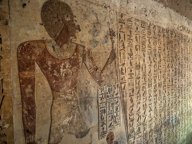 Tomb of Aahmes, son of Abana, at El Kab, Egypt. This tomb is famous for its well-preserved hieroglyphics.