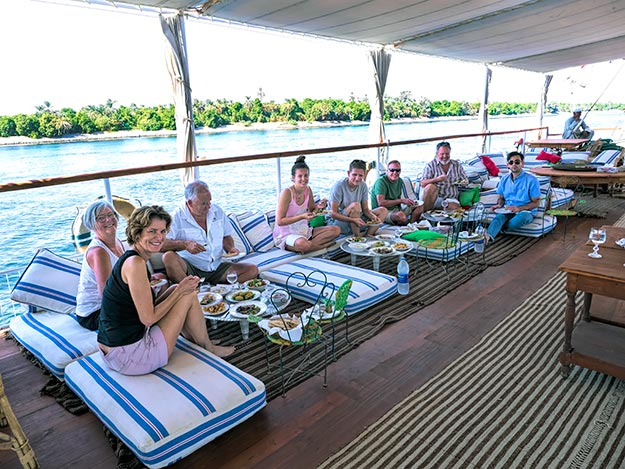A casual lunch aboard the El Nil is one of the joys of Nour El Nil's Dahabiya cruises on the Nile