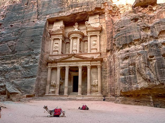 The Treasury, generally considered the most magnificent of the Nabatean ruins in Petra, Jordan