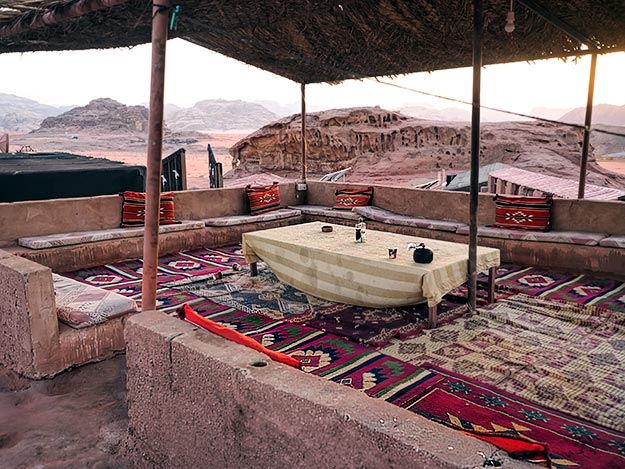 Outdoor pavilion and dining area at Desert Rose Camp in Wadi Rum, Jordan