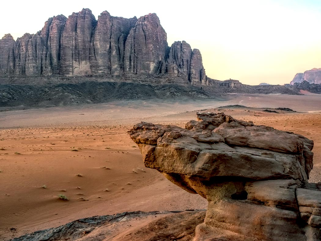 This photo perfectly portrays why the desert landscapes of Wadi Rum in Jordan are alternatively known as Valley of the Moon