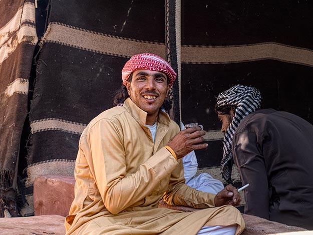 Sharing tea with Bedouins at Wai Rum, Jordan