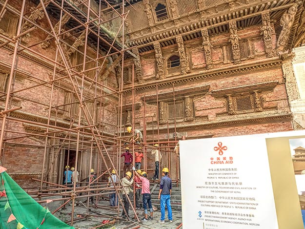 One of the few signs of progress at Basantapur Durbar Square in Kathmandu is the restoration of the Hanuman Dokha Palace, which is being funded and overseen by the Chinese government