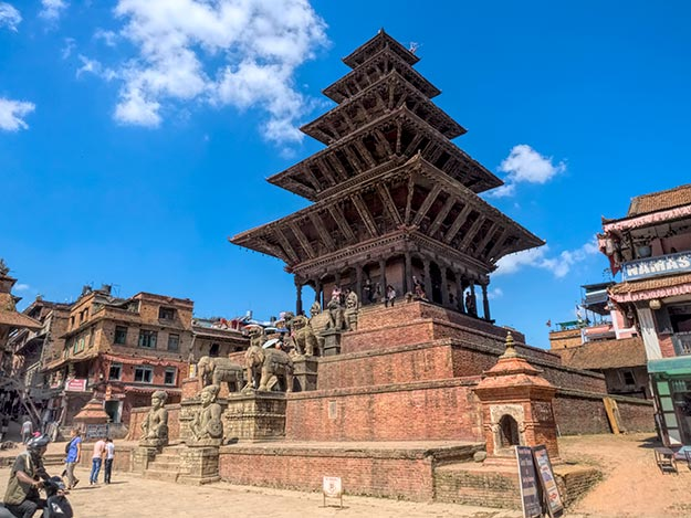 Fortunately, the historic five-tiered Nyatapola Temple in Taumadhi Square in Bhaktapur did not sustain any damage in the earthquake