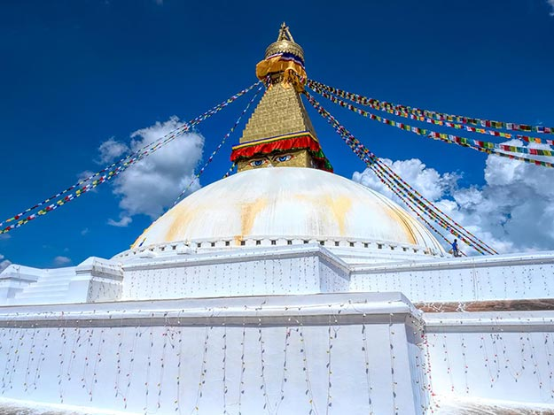 The fully restored Boudhanath Stupa today, perhaps the most successful of the temple restorations in Nepal