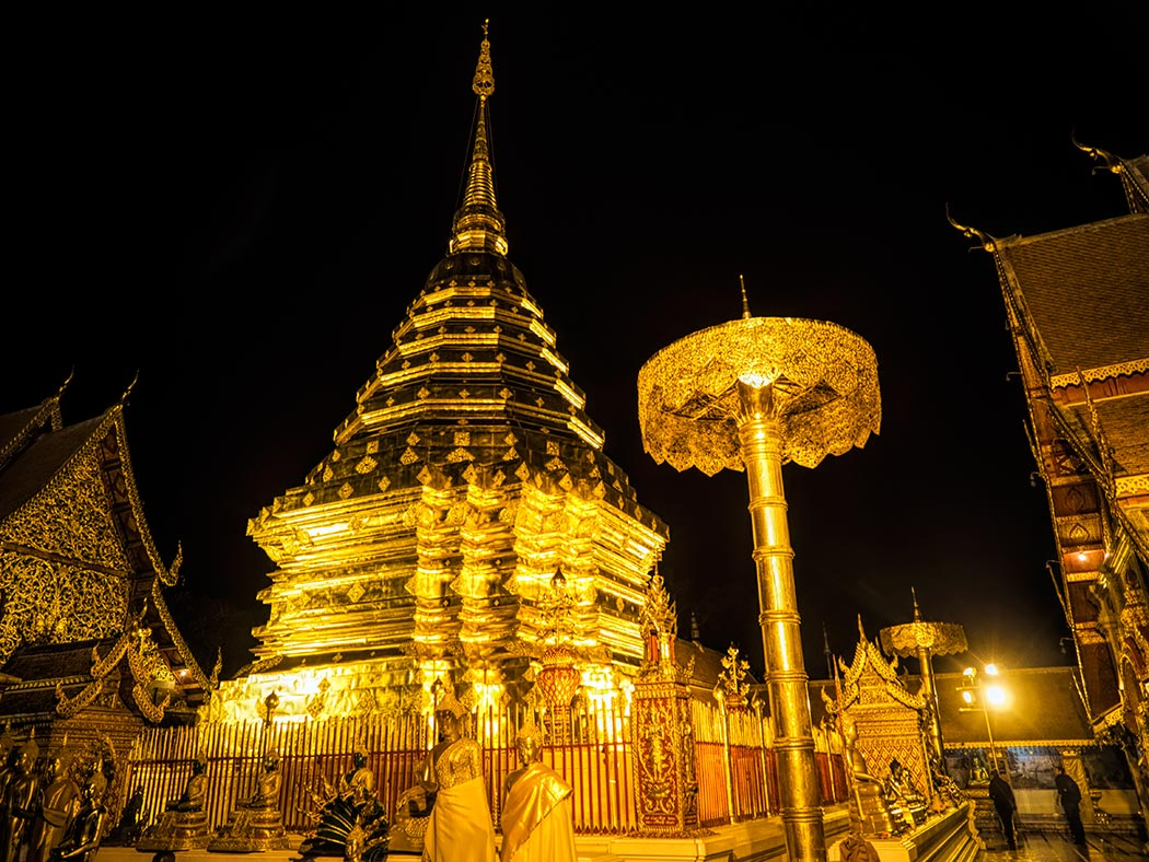 Wat Phra That Doi Suthep, the most important Buddhist temple in Chiang Mai, Thailand
