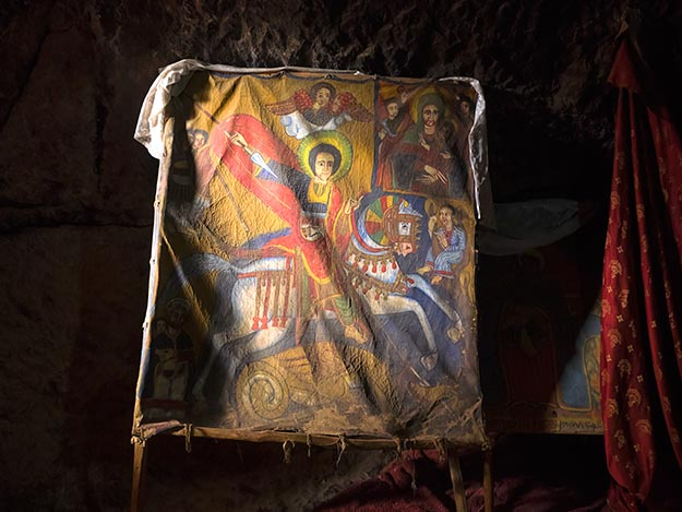 Very old painting of St. George on cowhide is displayed inside Bete Danagal