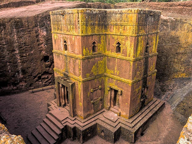 Magnificent Bete Georgis (St. George), the last church built by King Lalibela and the most famous of all the rock-hewn churches