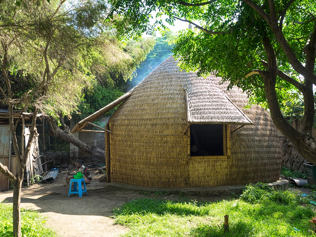 Traditional woven hut in the town of Hawassa in Southern Ethiopia
