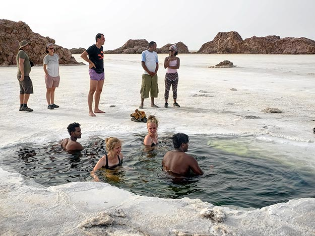 Incongruous swimming hole in the middle of the salt flats at Ethiopia's Danakil Depression