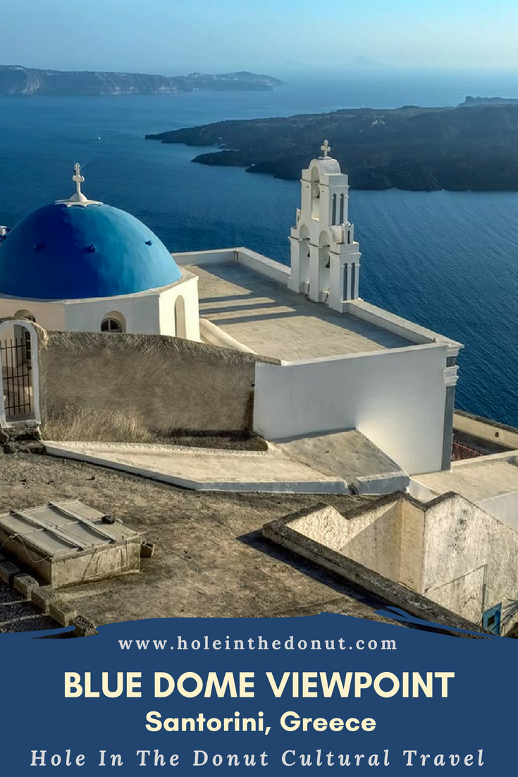 Blue Dome Viewpoint offers a panoramic view of the flooded volcanic caldera on the Greek island of Santorini.