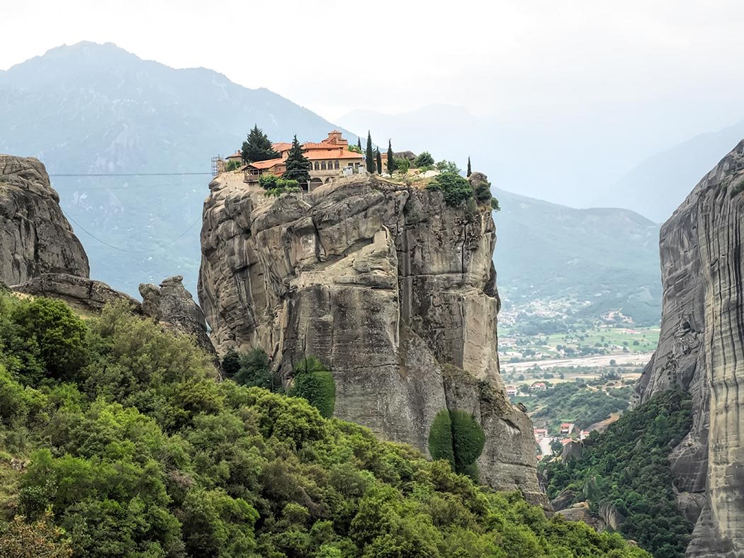Of the original 24 Meteora Monasteries in Thessaly, Greece, only six remain. Perched atop a sandstone pinnacle, this is one of the most picturesque.