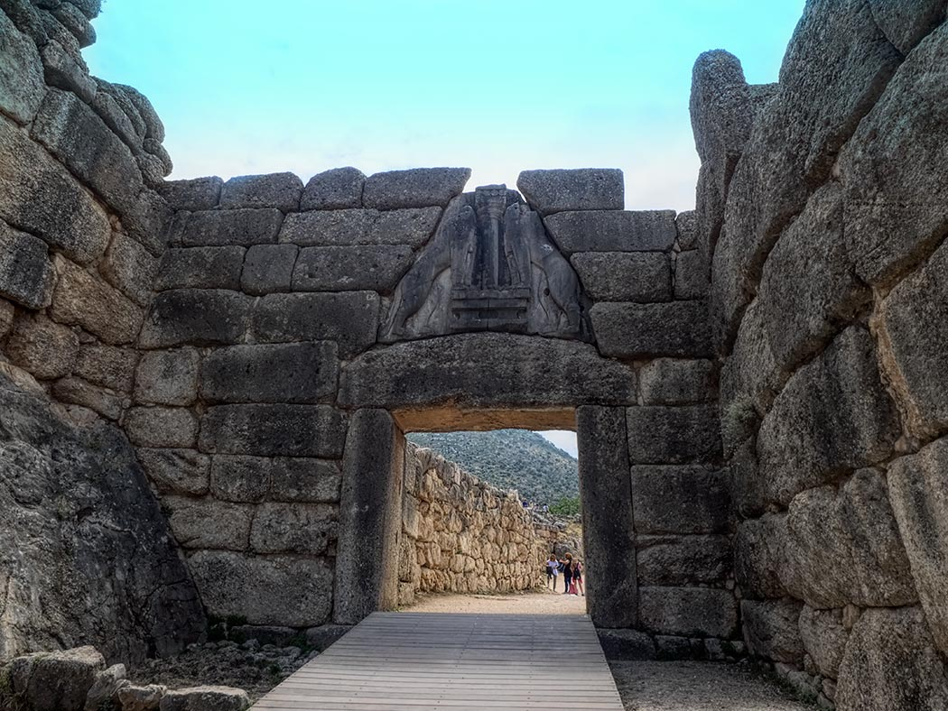 Lion Gate, the fabled and fearsone entrance to the ancient citadel of Mycenae, Greece