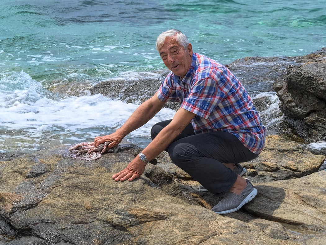 On the Greek island of Mykonos, a local man squatted down and began to tenderize octopus he just caught by slammg it repeatedly on the seaside rocks