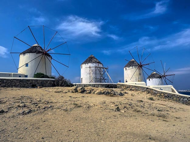 Kato Mili windmills on the island of Mykonos, Greece