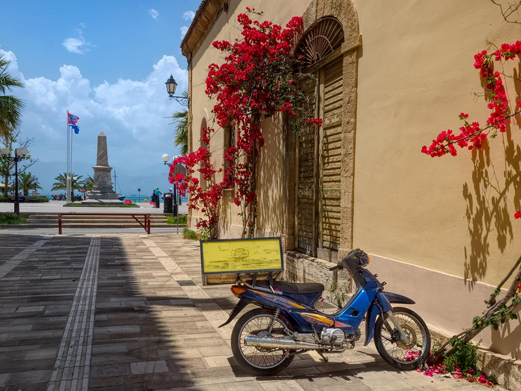 Street scene in old town Nafplio, looking toward Syntagma Square and the harbor
