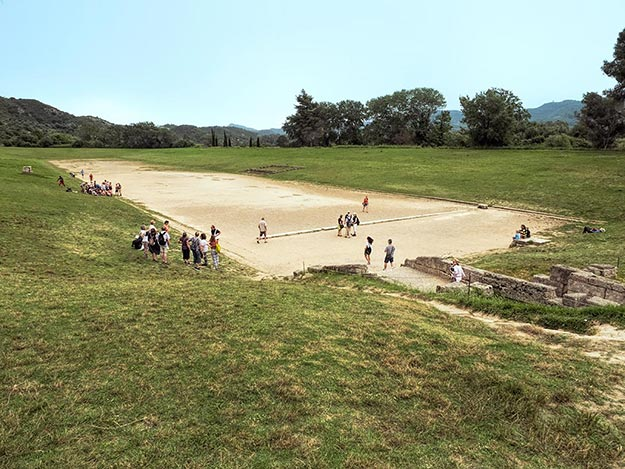 One of the best symbols of Greek history, this rectangular field in Olympia was the site of the very first Olympics, held in 776 B.C.