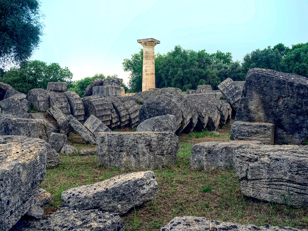 Ruins of the Temple of Zeus in Ancient Olympia, Greece