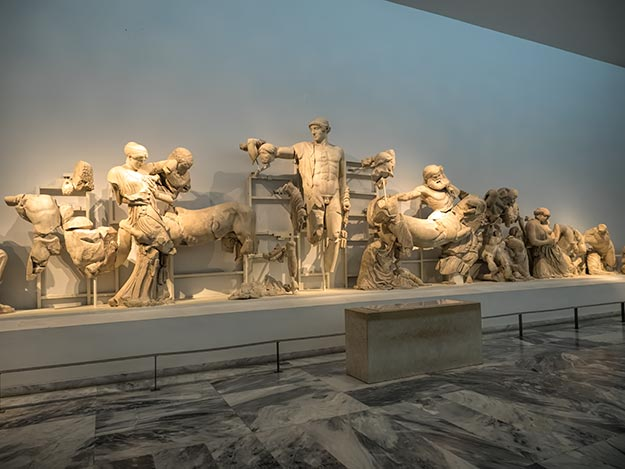 Pediment two from the Temple of Zeus in ancient Olympia, Greece, is displayed at the Olympia Archeological Museum
