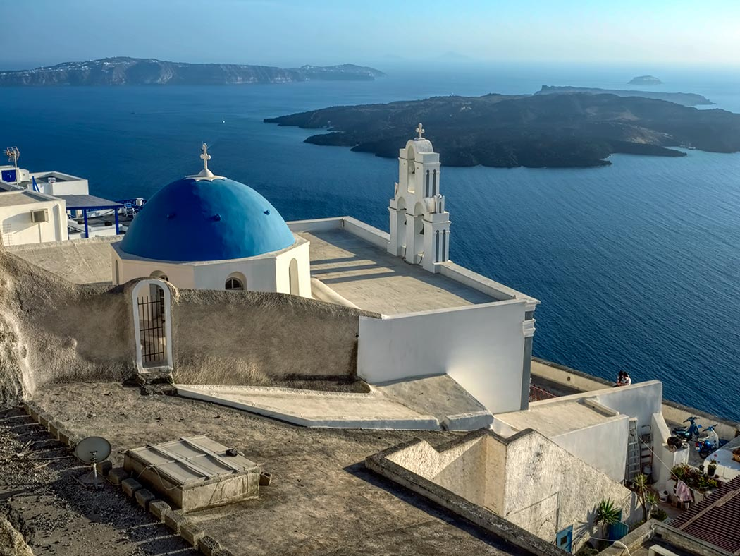 Blue Dome Viewpoint Santorini Greece