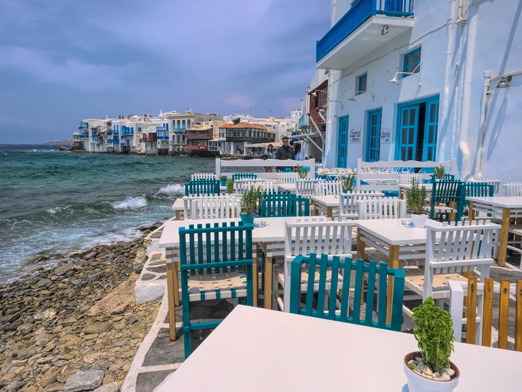 The neighborhood known as Little Venice in Mykonos Town, on the Greek island of Mykonos
