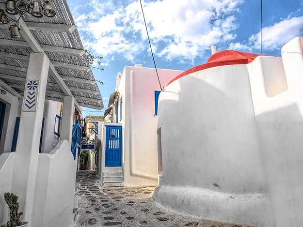 A study in blue and white, with a dash of red, on the island of Mykonos, Greece
