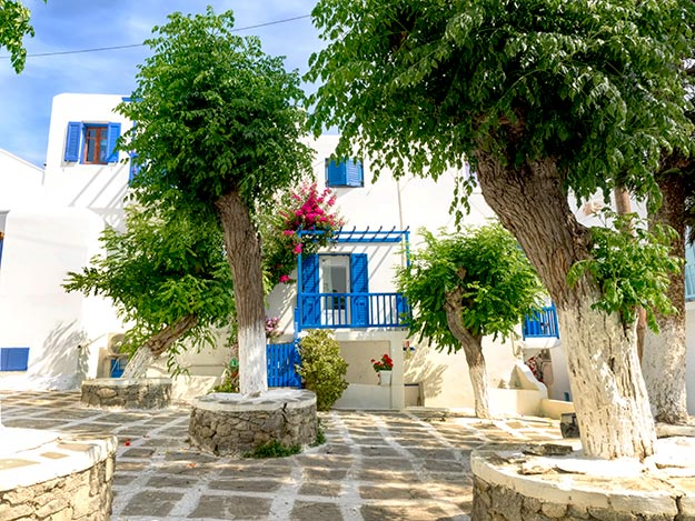 Whitewashed houses with cobalt blue trim, a signature of Mykonos, Greece