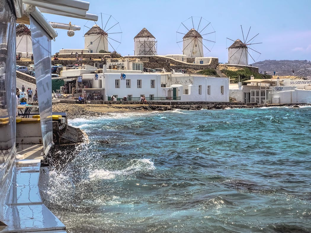 The Windmills of Kato Mili, most often referred to as the Windmills of Mykonos, were once used to mill wheat and barley into hard tack for use as provisions during long sea voyages