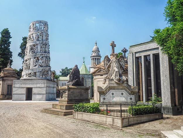 Elaborately sculpted tower at left is the mausoleum of Italian entrepreneur Antonio Bernocchi