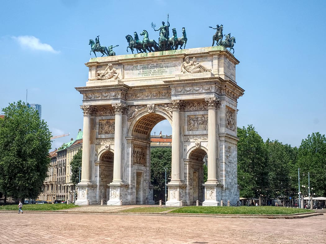 The Arch of Peace in Milan, Italy, was ordered built by Napoleon after he conquered northern Italy in 1805.