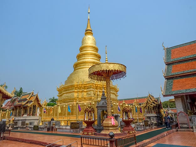 Golden chedi at WatPhra That Hariphunchai holds a relic of the Buddha