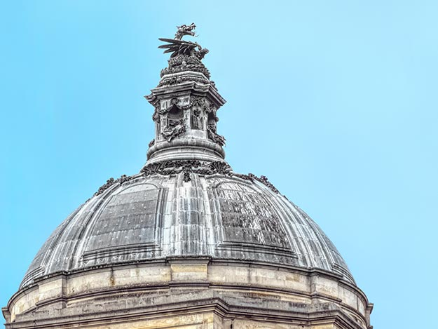 Dome of Cardiff City Hall is topped with a dragon