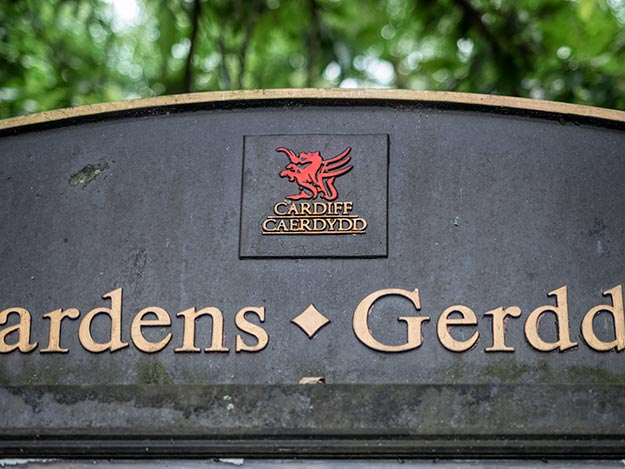 Welsh dragon adorns sign at Cardiff Gardens