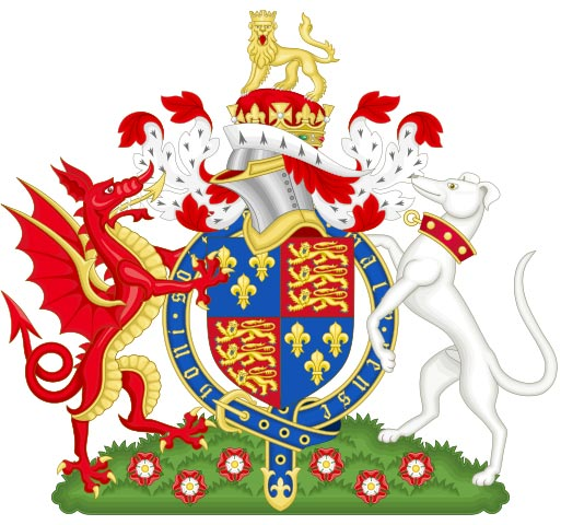 Wales Coat of Arms for Henry VII featured the red Welsh dragon supporting the Royal Arms of England
