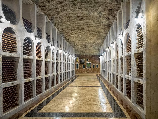 Some of the 1.2 million bottles of wine stored in the cellars at Cricova Winery, the second largest wine collection in the world