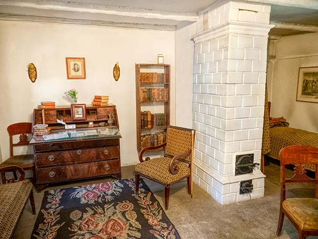 Interior of the cottage where Russian poet Alexander Pushkin lived after he was exiled to Moldova, locatedon the gounds of the Pushkin Museum in Chisinau