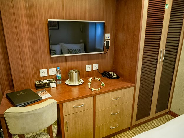 My cozy cabin on the Aranui 5 cruise ship in French Polynesia