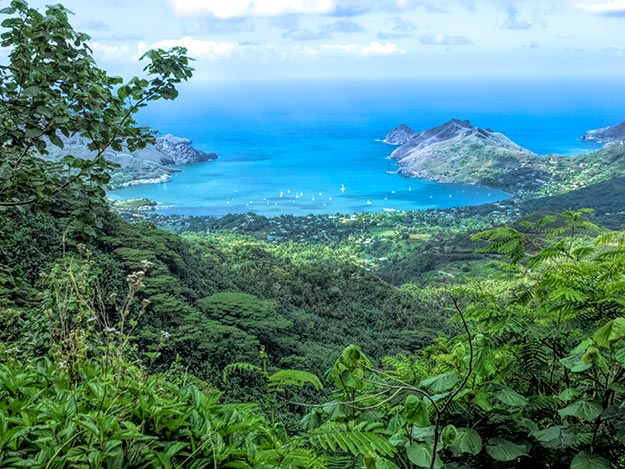 View of Taiohae Bay from the scenic overlook on Nuku-Hiva island in the Marquesas