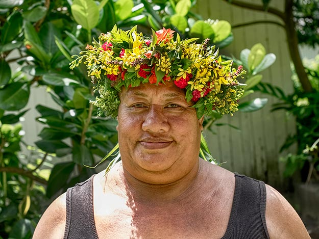 This mama on Fatu Hiva kindly posed for a portrait before gifting me with her gorgeous handmade flower headdress