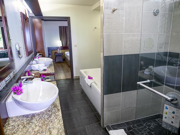 Huge bathroom featured a walk-in shower and a giant soaking tub