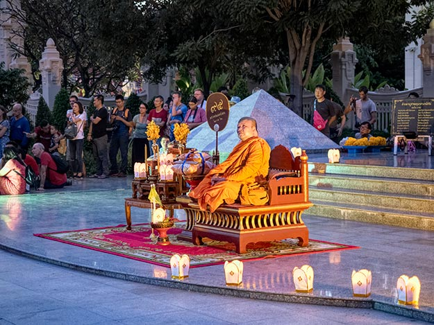 Monk offers prayers at the opening ceremonies of Loy Krathong Festival in Chiang Mai