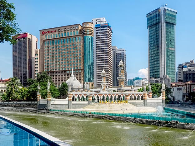 Masjid Jamek Sultan Abdul Mosque, which stands on the spot where the city was founded, is one of the top tourist attractions of Kuala Lumpur and the focal point for the River of Life Project